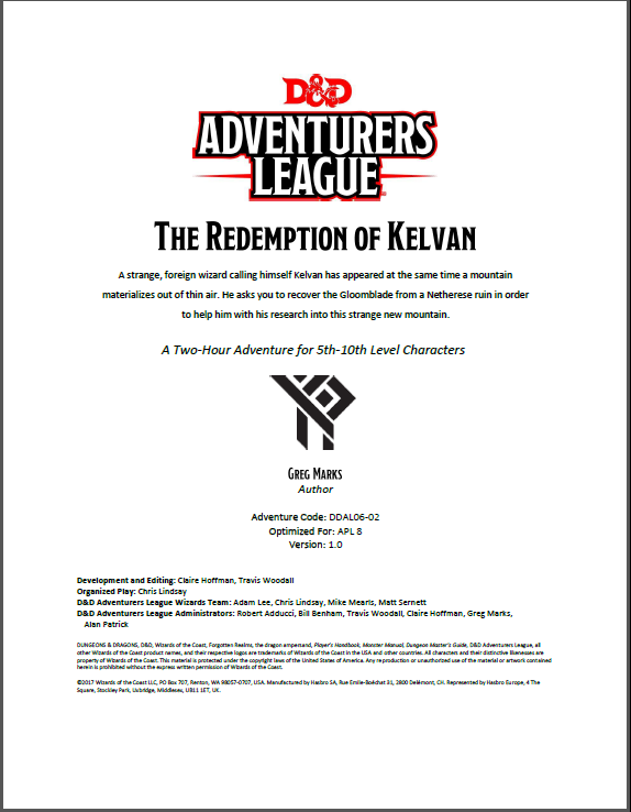 Cover of DDAL06-02 The Redemption of Kelvan