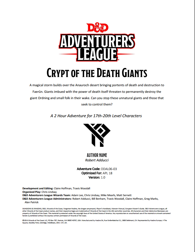 Cover of DDAL06-03 Crypt of the Death Giants