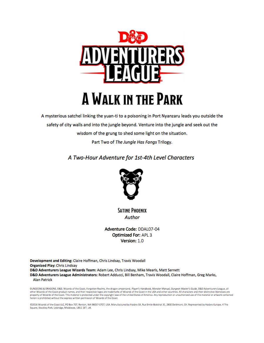 DDAL07-04 A Walk in the Park (5e)