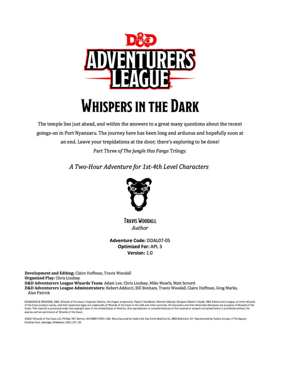DDAL07-05 Whispers in the Dark (5e)