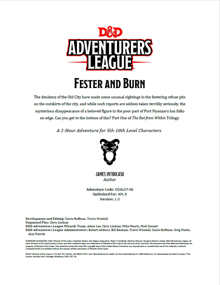 Cover of DDAL07-06 Fester and Burn