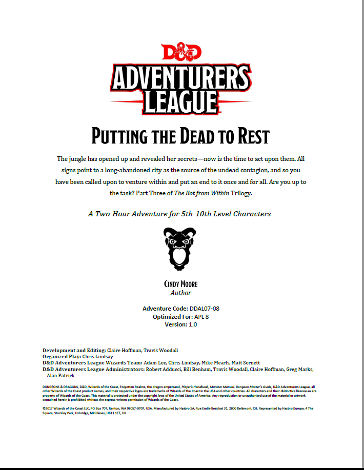 Cover of DDAL07-08 Putting The Dead To Rest