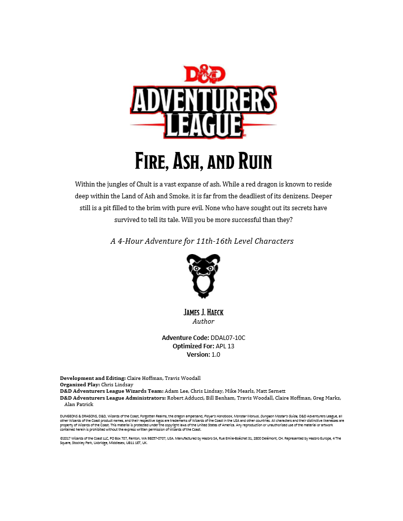 DDAL07-10 Fire, Ash, and Ruin (5e) - Wizards of the Coast