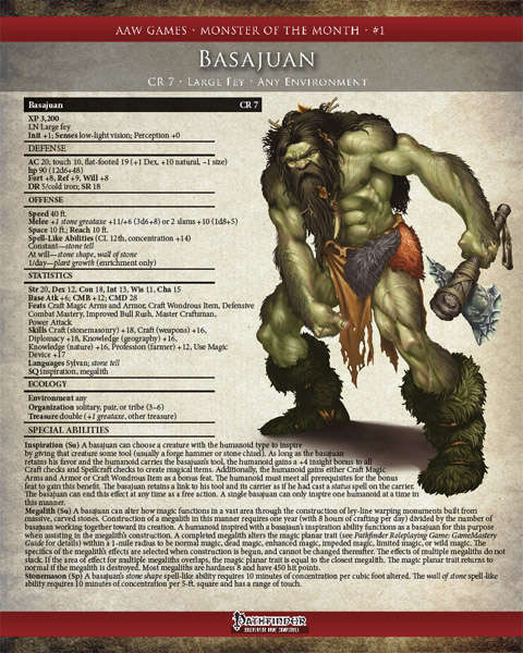 Monster of the month 1 basajaun pf aaw games pathfinder monster of the month 1 basajaun pf fandeluxe Gallery