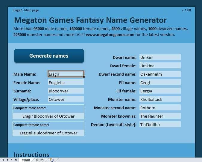 Megaton Games Excel Fantasy Name Generator - Megaton Games ...
