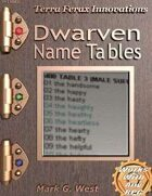 Dwarven Name Tables