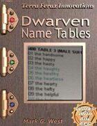 Dwarven Name Tables
