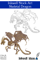 Inkwell Stock Art: Dragon, Skeletal