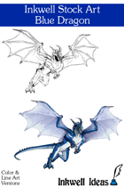 Inkwell Stock Art: Dragon, Blue