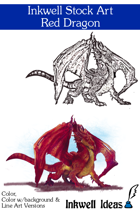 Inkwell Stock Art: Dragon, Red
