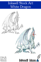 Inkwell Stock Art: Dragon, White
