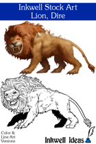 Inkwell Stock Art: Lion, Dire