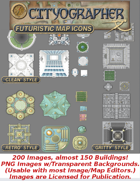 Cityographer Futuristic City Map Icons (Any Editor)
