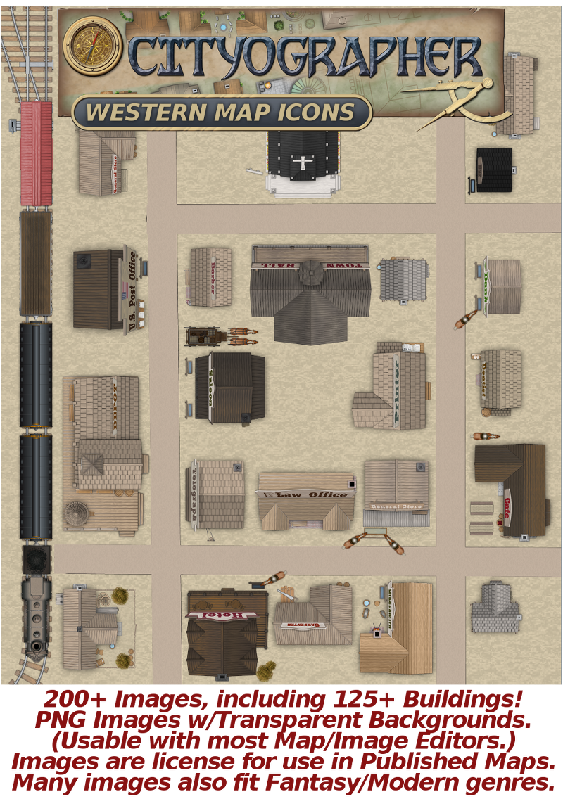 Cityographer Western City Map Icons (Any Editor)