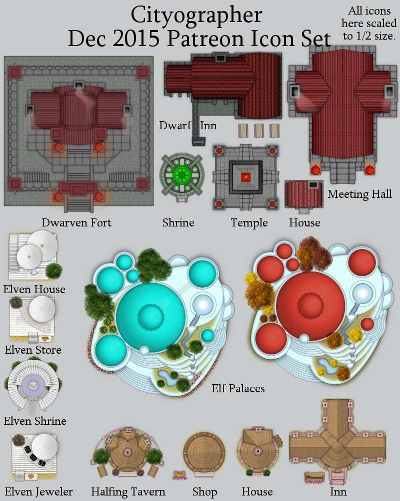 Cityographer December 2015 Monthly City Map Icons (Any Editor) - Inkwell  Ideas   Hex/Dun/Cityographer Map Icon Packs   DriveThruRPG com