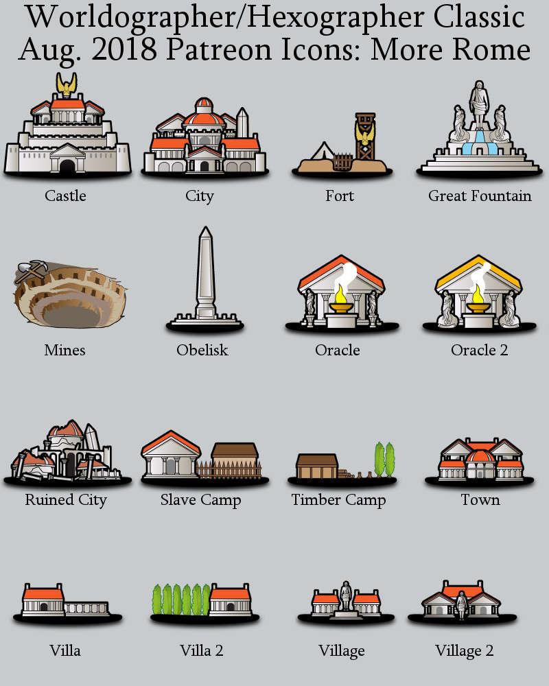 Hex/Worldographer Classic Style Roman (More) World Map Icons - Inkwell  Ideas | Hex/Dun/Cityographer Map Icon Packs | DriveThruRPG com