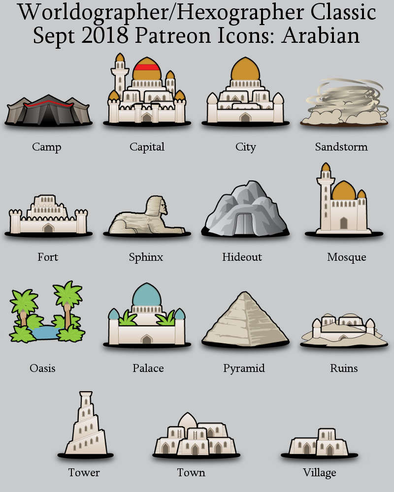 Hex/Worldographer Classic Style Arabian World Map Icons