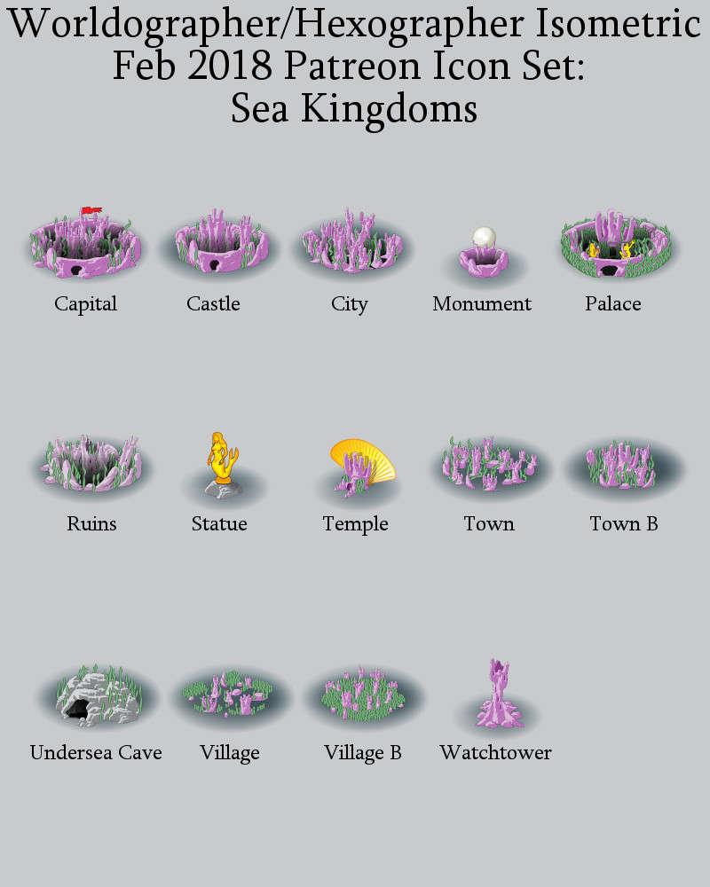 Worldographer Isometric Style Sea Kingdoms World Map Icons - Inkwell Ideas  | Hex/Dun/Cityographer Map Icon Packs | DriveThruRPG com
