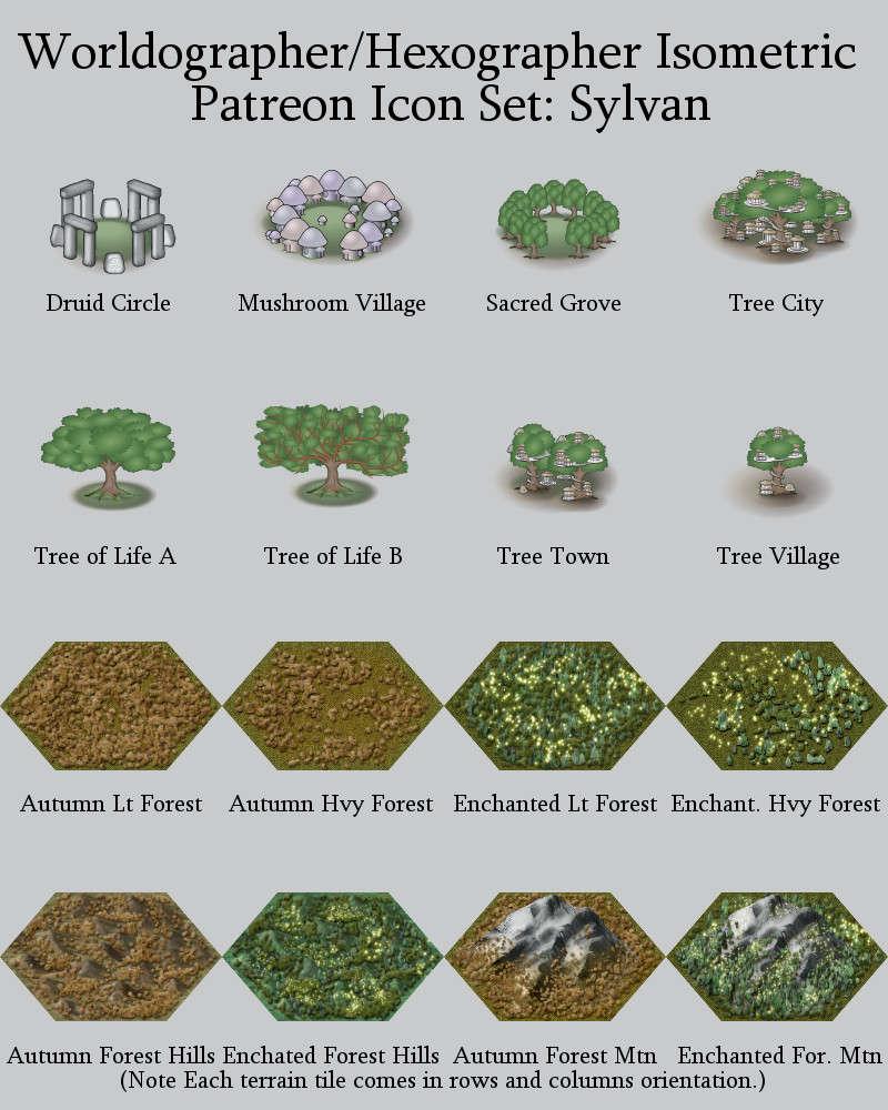 Worldographer Isometric Style Sylvan World Map Icons - Inkwell Ideas |  Hex/Dun/Cityographer Map Icon Packs | DriveThruRPG com
