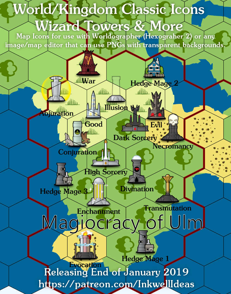 Hexworldographer Classic Style Wizard Tower World Map Icons