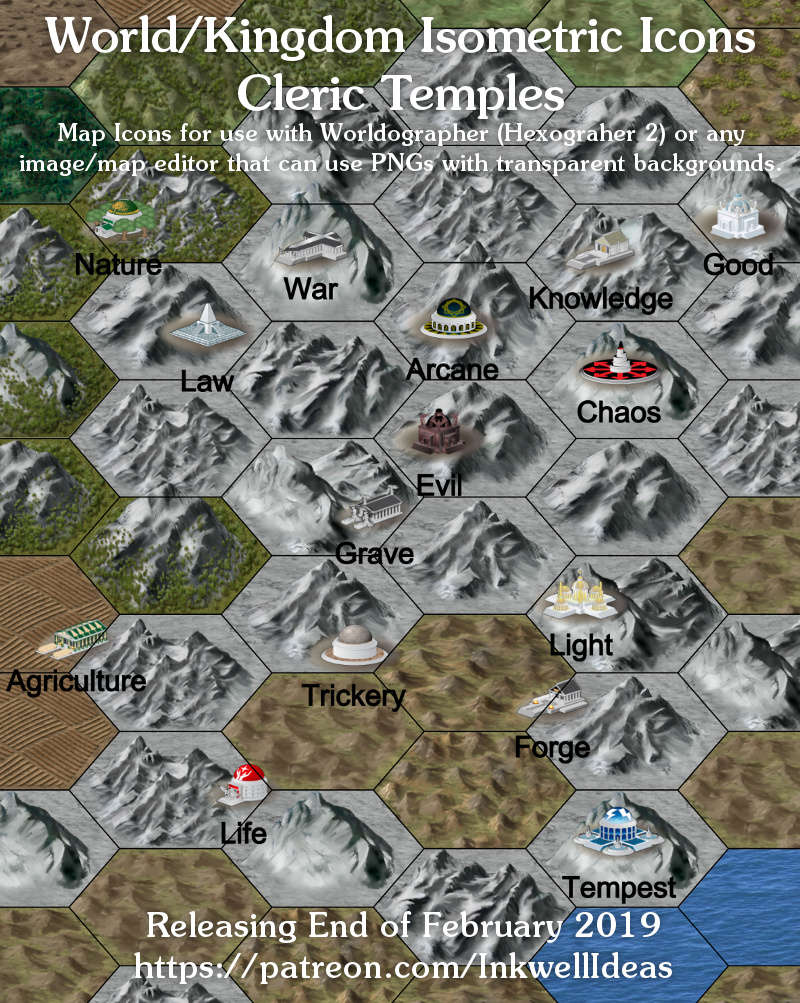 Worldographer Isometric Style Temples World Map Icons - Inkwell Ideas |  Hex/Dun/Cityographer Map Icon Packs | DriveThruRPG com
