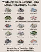 Worldographer Isometric Style Keeps & Monasteries Map Icons