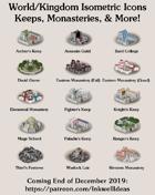 Worldographer Isometric Style Keeps & Monasteries Map Icons