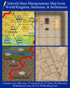 Worldographer Mesopotamian Battlemat, Settlement, and World/Kingdom Map Icons