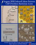 Worldographer Cliff Dwellers Battlemat, Settlement, and World/Kingdom Map Icons