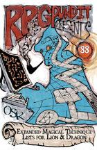 RPGPundit Presents #88: Expanded Magical Technique Lists for Lion & Dragon