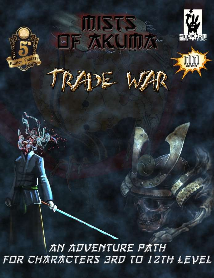 The cover image of Mists of Akuma shows a man holding a smoking sword while a samurai with a skull looks on