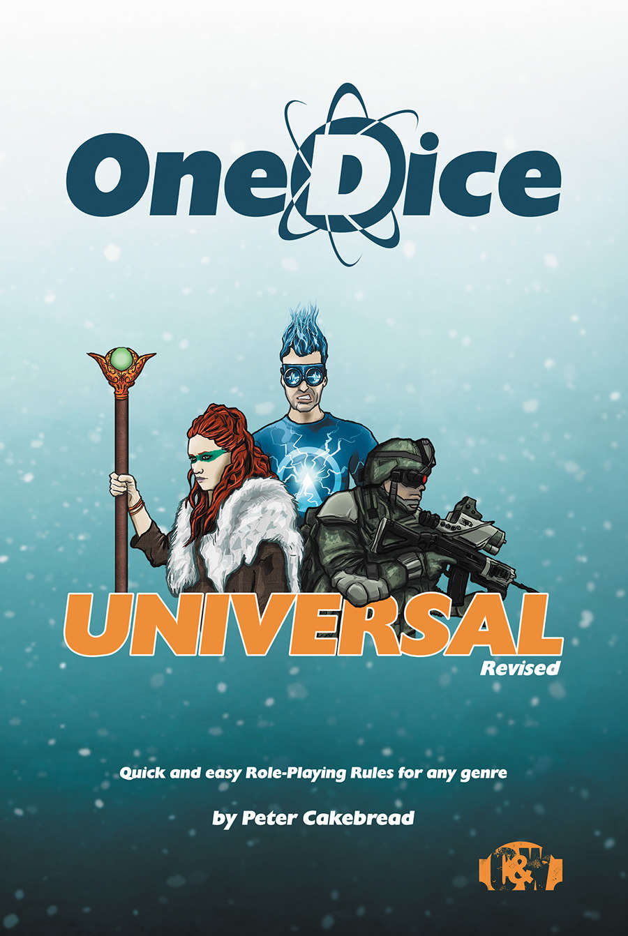 OneDice Universal Revised cover depicting a fantasy, superhero, and sci-fi character on a starry background.