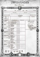 ZWEIHÄNDER: Spanish Character Sheet (ES) - Play Aid for #ZweihanderRPG