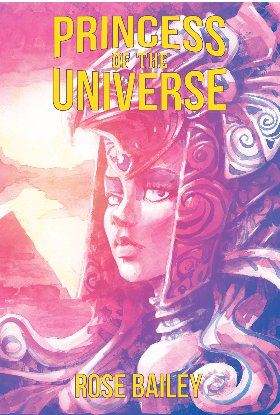 The cover of Princess of the Universe depicting a woman in an egyptian inspired headdress with a pyramid in the background.