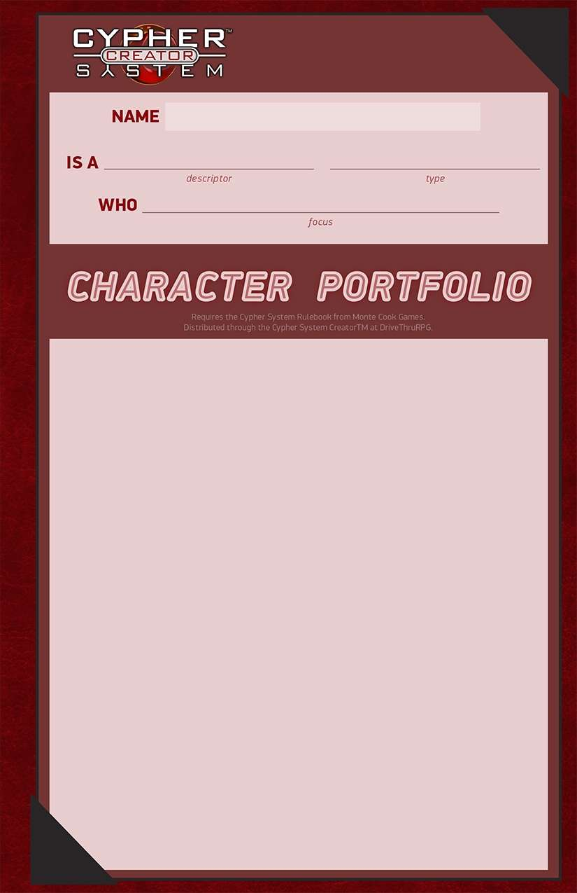 Cypher System Character Portfolio Pack -  Monte Cook