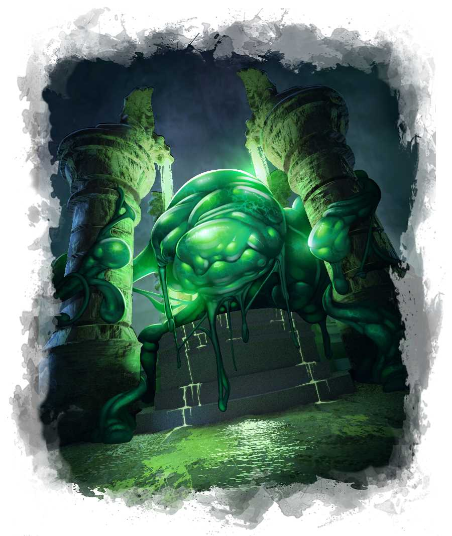 Massive ooze monster grasping two pillars