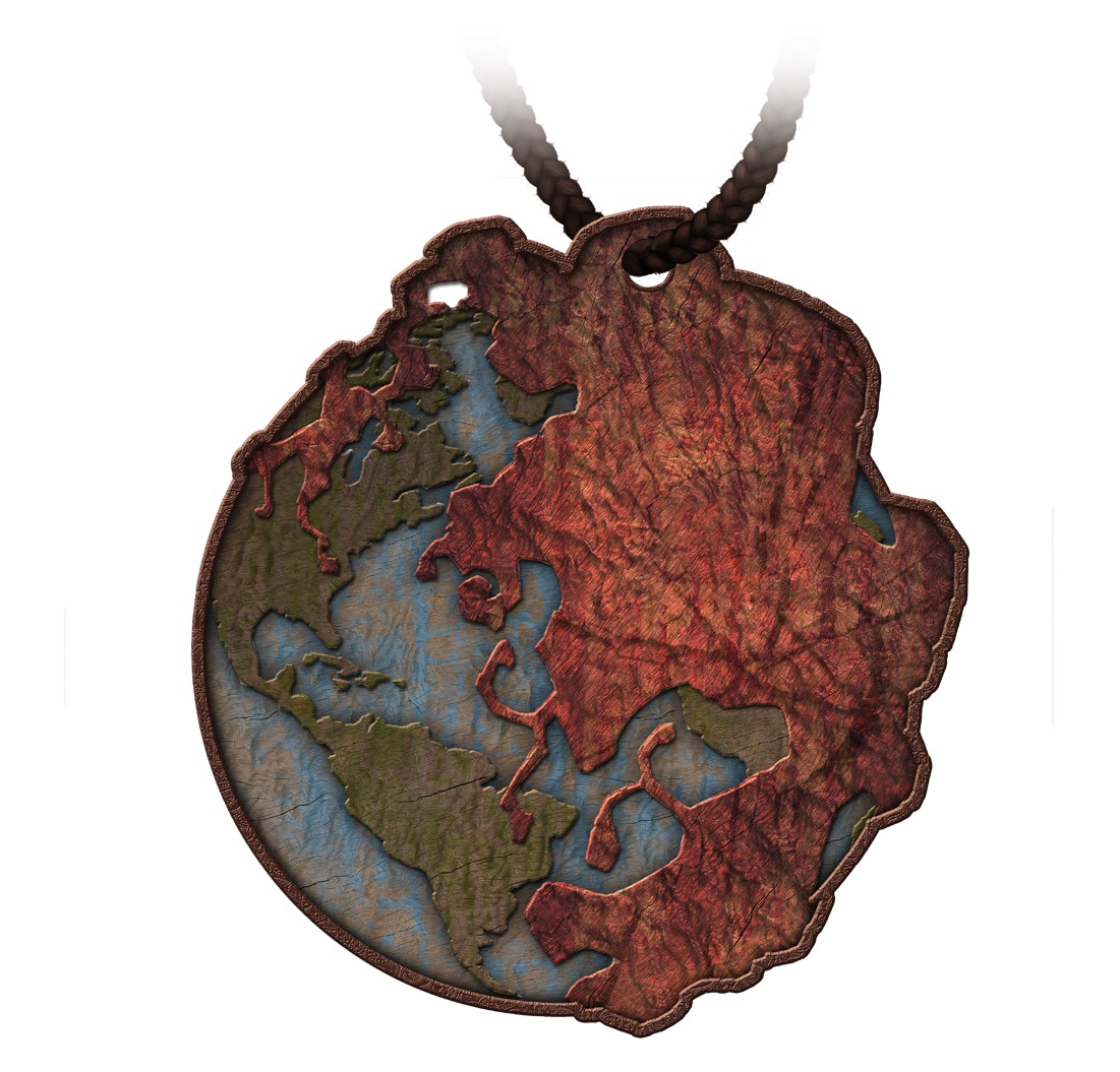 Amulet depicting an ooze engulfing the world