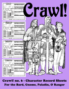 Crawl! no. 6 - Character Record Sheets