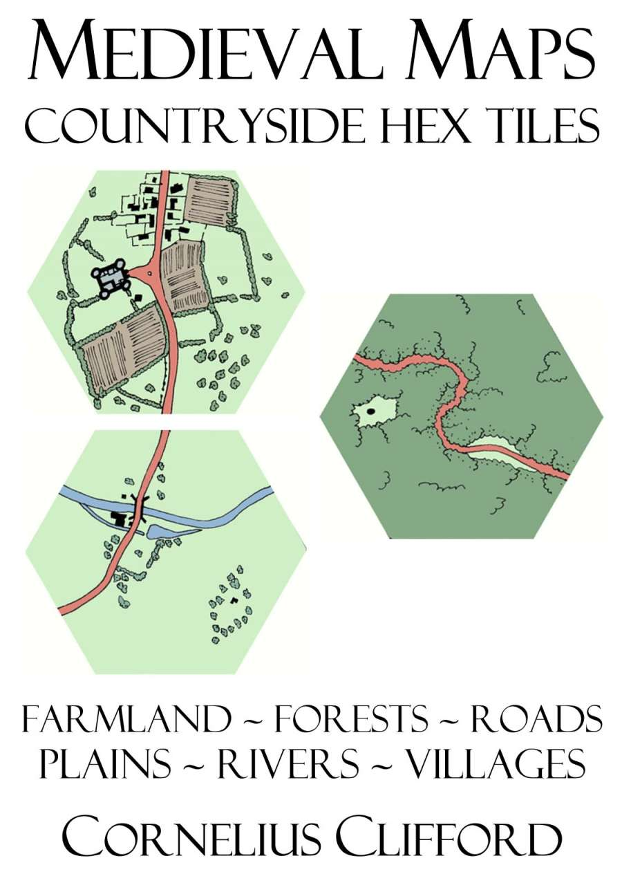 Medieval Maps - Countryside Hex Tiles Pack - Dreamworlds