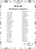 50 for 50 Renaissance Composers