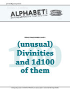 Alphabet Soup, GM Advice Document, 100 Divinities