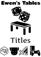 Ewen's Tables: Titles