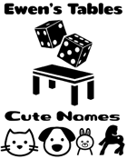 Ewen's Tables: Cute Names