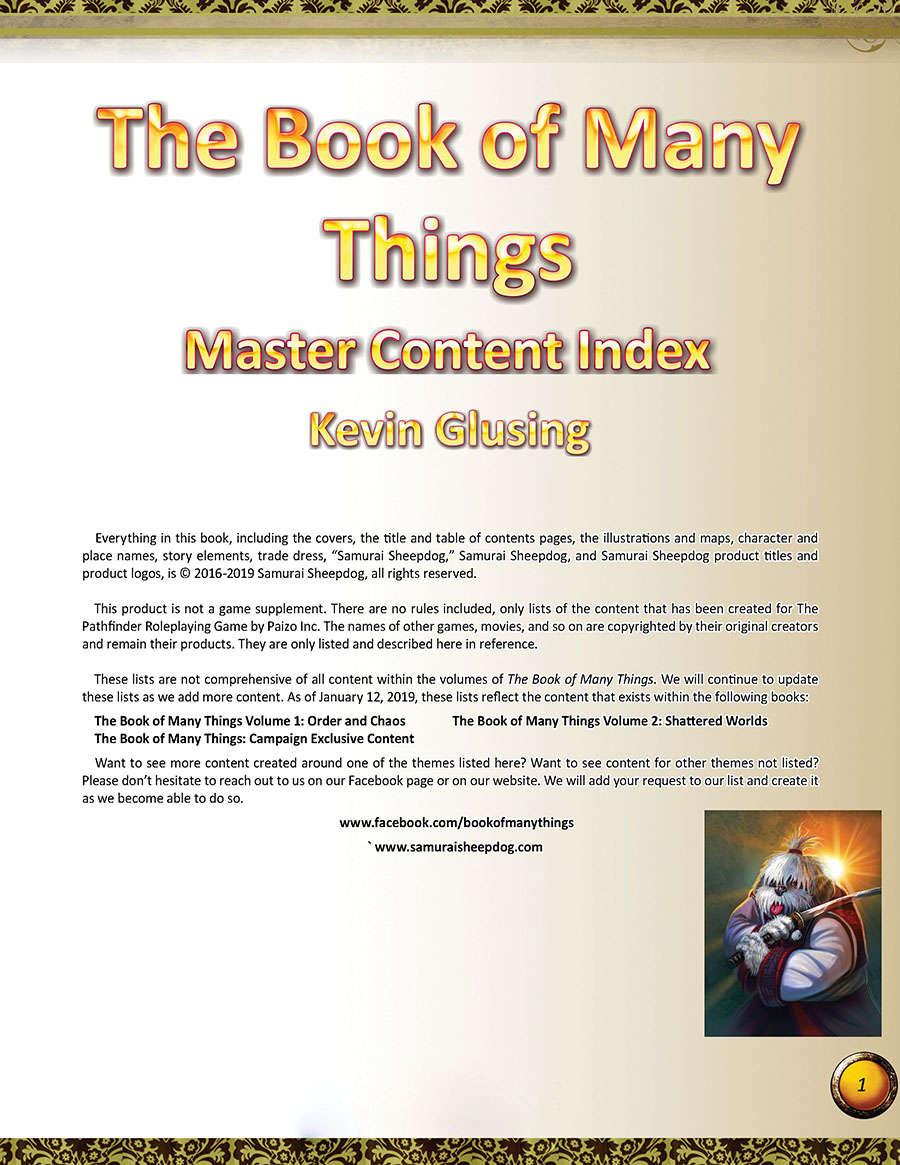 Master Content Index
