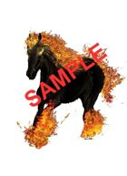 Image- Stock Art- Stock Illustration- Nightmare- fire flame ember horse