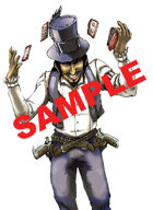 Stock Art: Armed cowboy playing cards