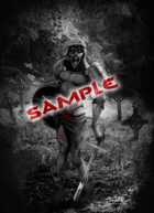 Image- Stock Art- Stock Illustration- Armed zombie with sword in a cemetery