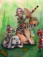 Stock Art: Goblins riding rabbits