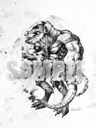 Stock Art: Lizard Man, ink