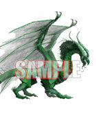 Image- Stock Art- Stock Illustration- Creature Green Dragon